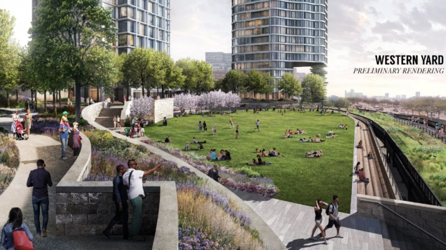 Rendering of green space underneath two tours and next to the High Line