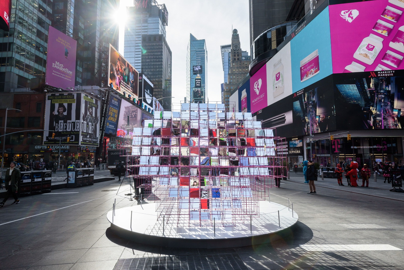 Mirrored Heart Sculpture in Times Square