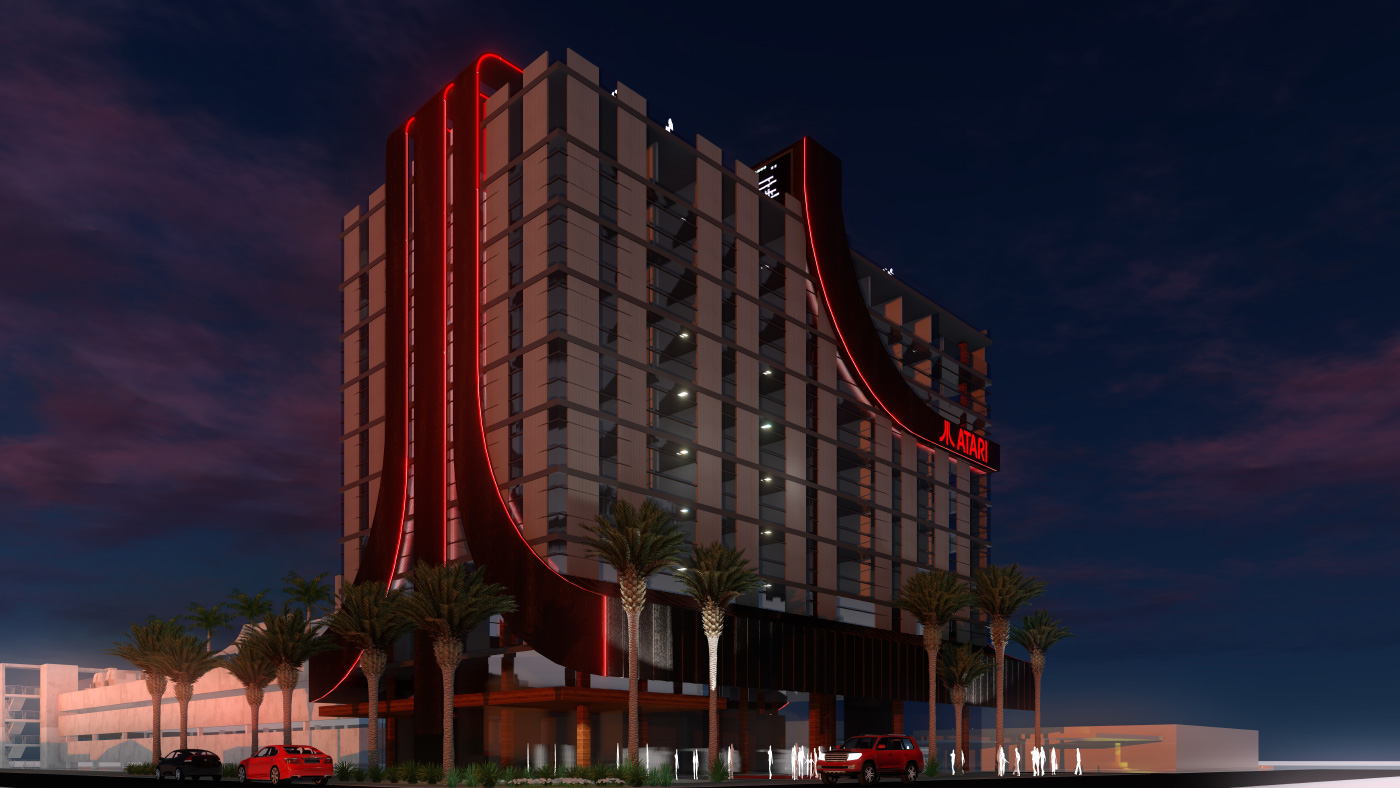 Rendering of a red-lit hotel with the word Atari on the side