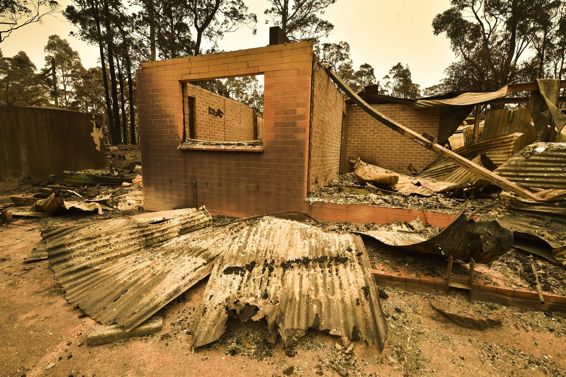 A house leveled by the fires in Australia