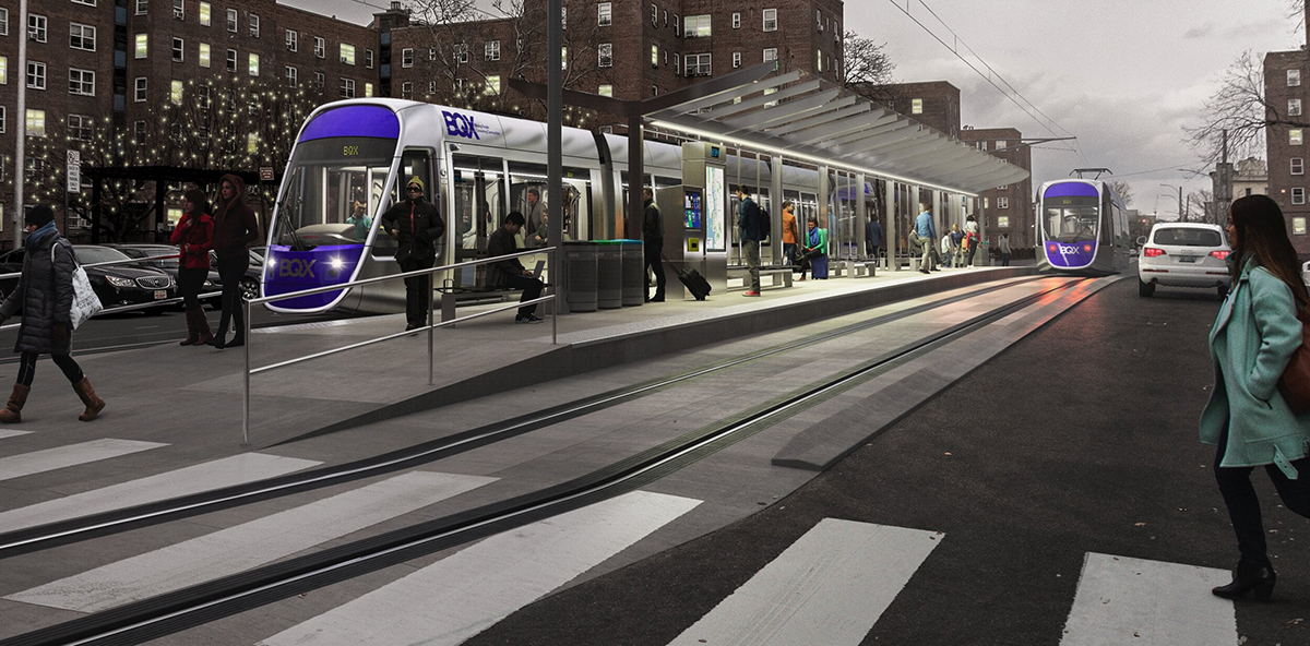 A render of a streetcar waiting at a platform.