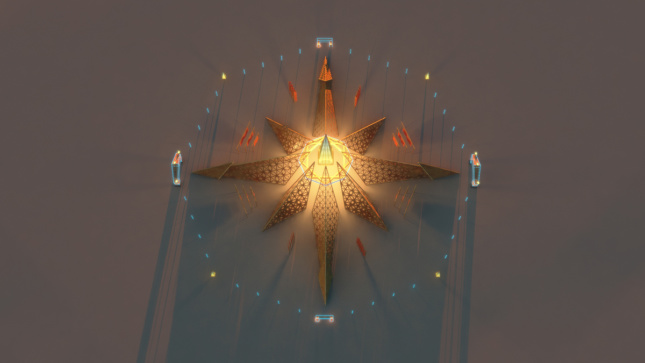 A top-down render of a Burning Man temple arranged as an eight-pointed star, glowing in the center.