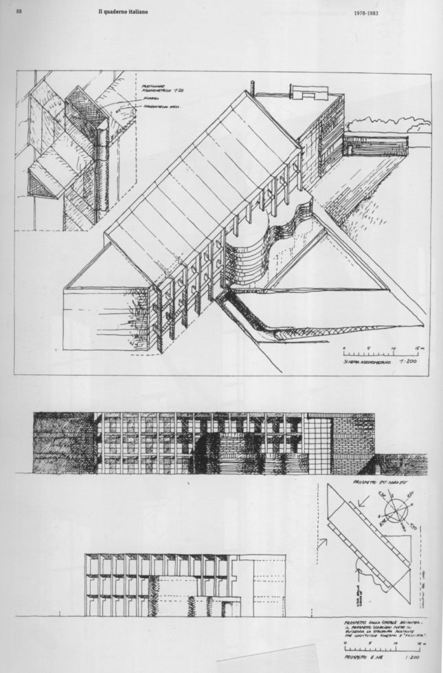 Line drawing of a long, barn-like building