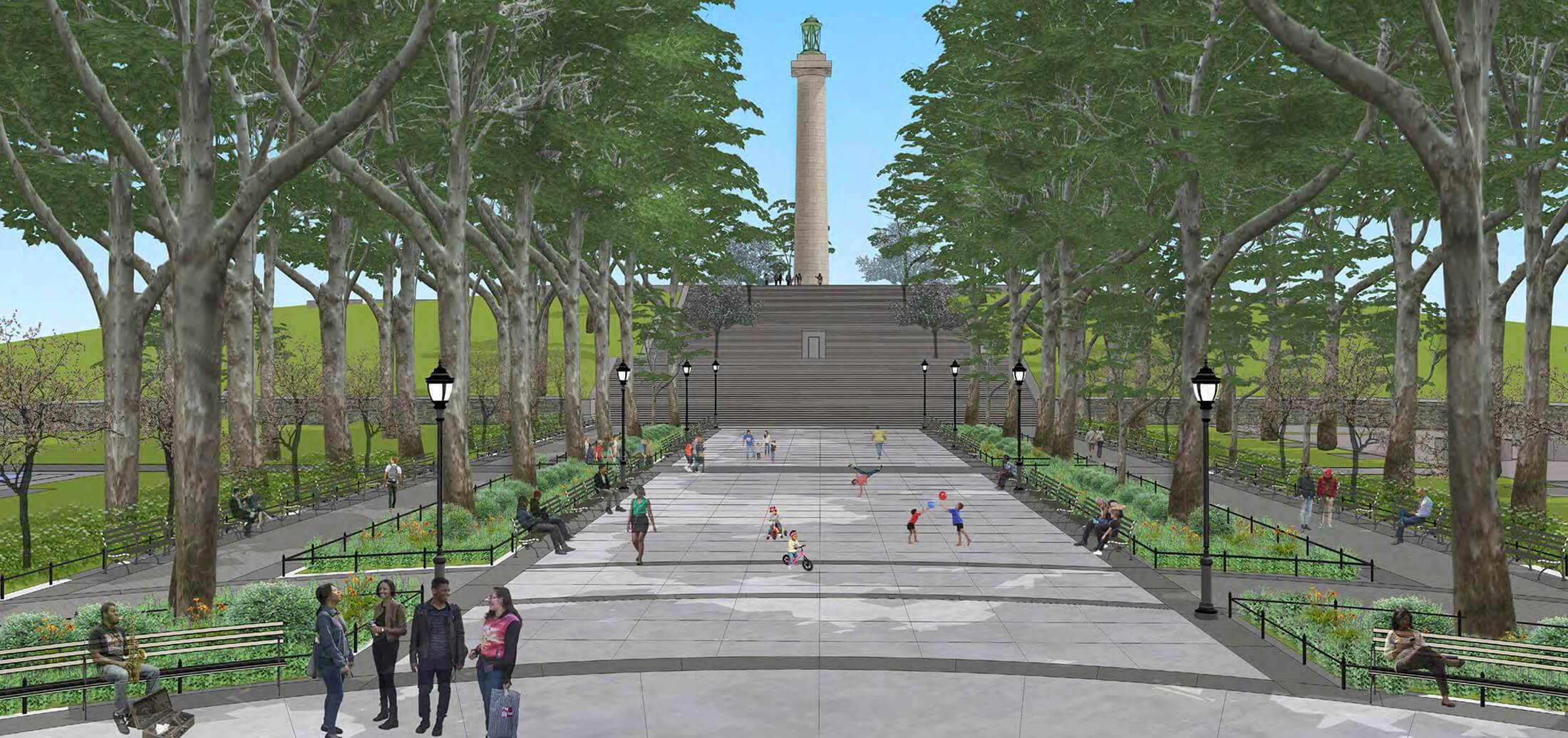 Rendering of Fort Greene Park, with a giant spire in the center