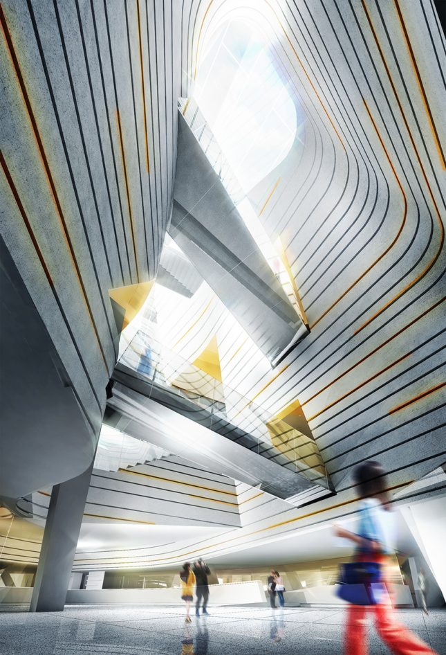 A render of a light-filled atrium of striped gray walls and cut across by pedestrian bridges. A figure in motion is at bottom right.
