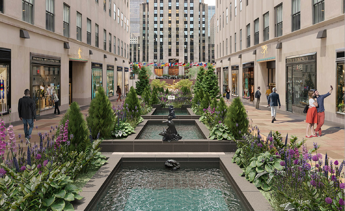 A render of three reflecting pools in a plaza between two towers.