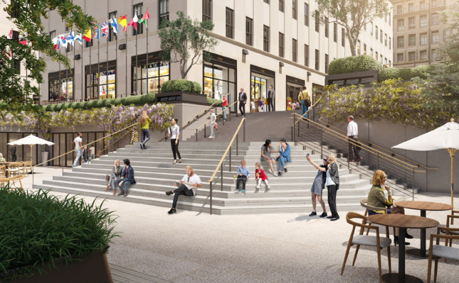 A render of people sitting on an expansive stairwell in Rockefeller Plaza.