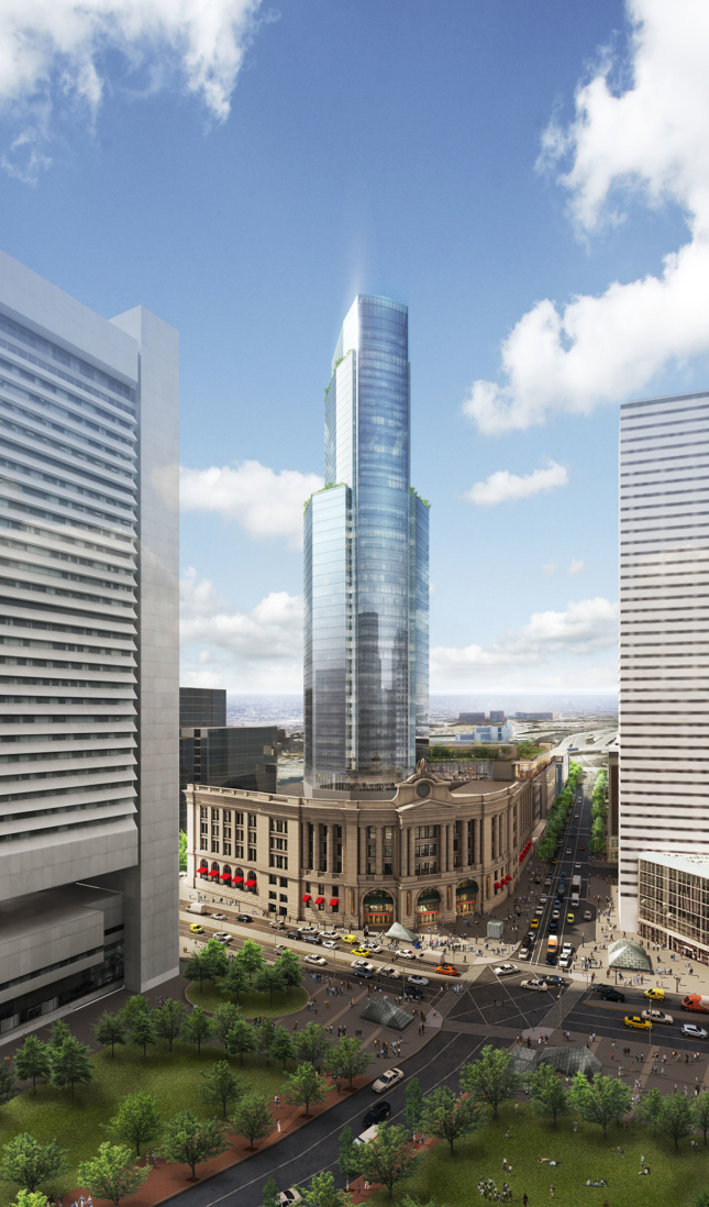 Rendering of a glassy tower growing from South Station