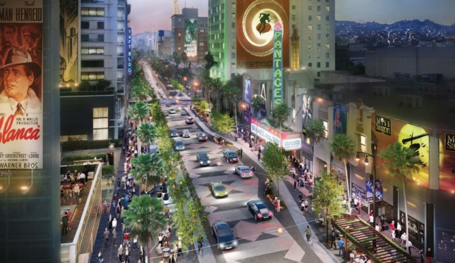 Rendering of a widened Hollywood Walk of Fame with less lanes