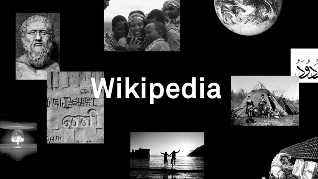 "A black background with various historic or significant floating images with ""Wikipedia"" in white sans-serif text in the center."