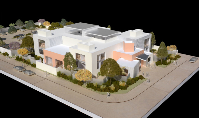 Physical model of a boxy, stepped community center