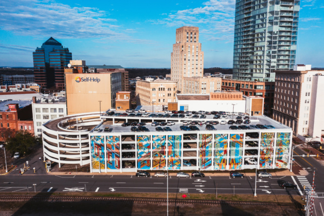 Aerial photo of a parking garage, designed by an Emerging Voices winner
