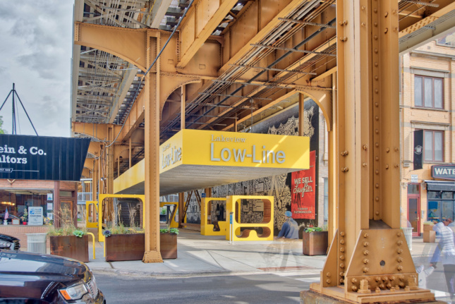 Designed by Emerging Voices winner PORT, this intervention shows yellow furniture
