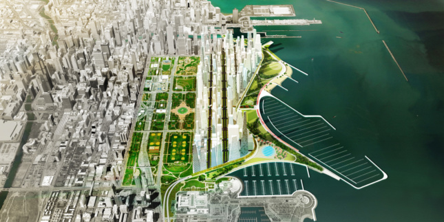 Aerial diagram of the Chicago waterfront