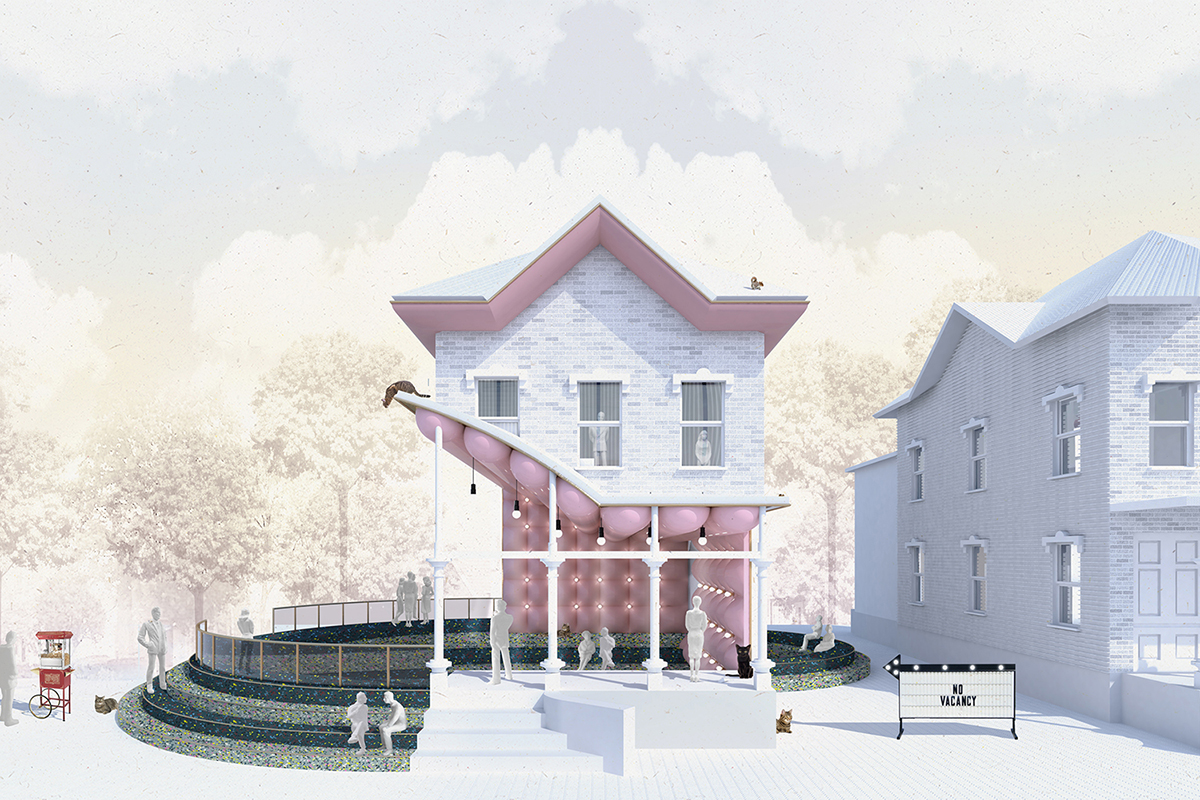 A model of a Shin Shin-designed home with large acoustic padding under the porch awning
