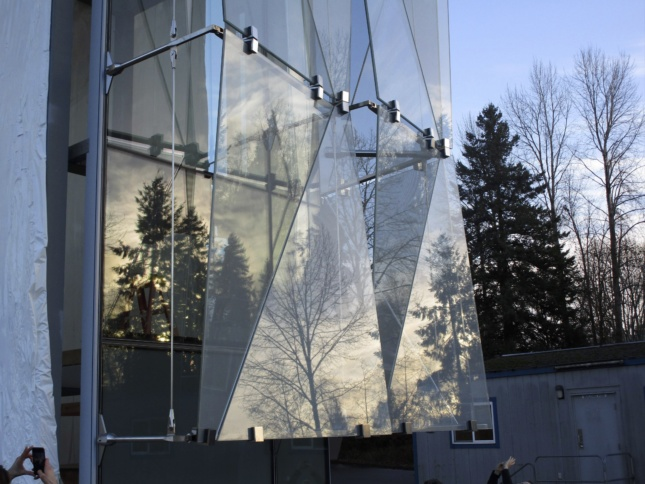 Detail image of Knight Campus glass facade