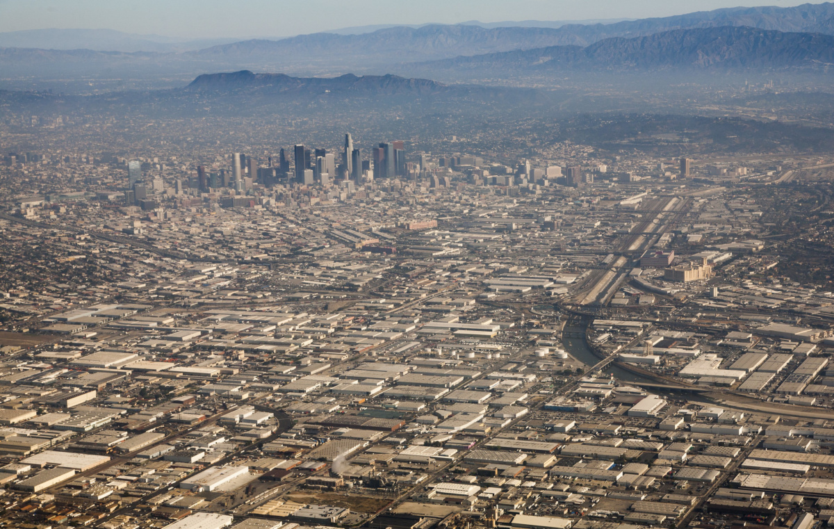 Aerial view of dense downtown L.A.