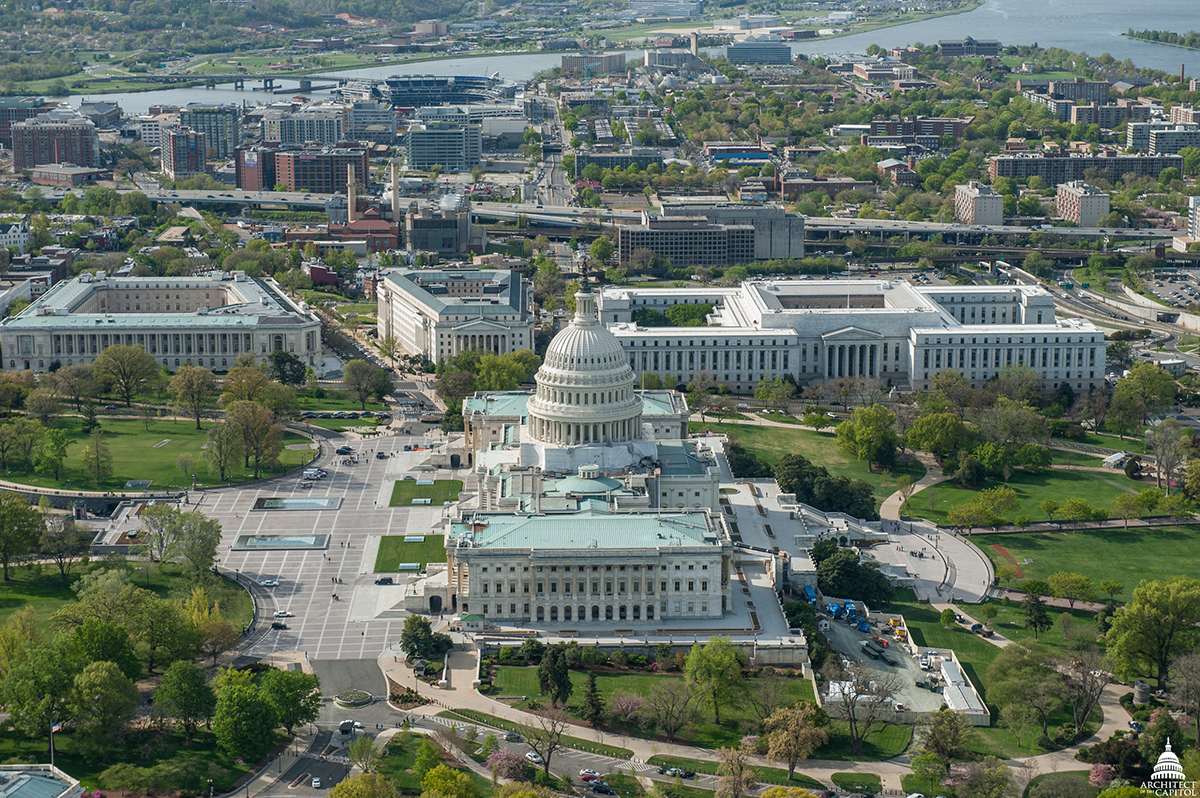 Aerial view of U.S. Capitol and administrative buildings