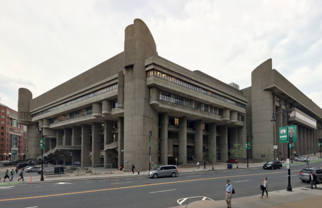Exterior shot from plaza of concrete Hurley Building