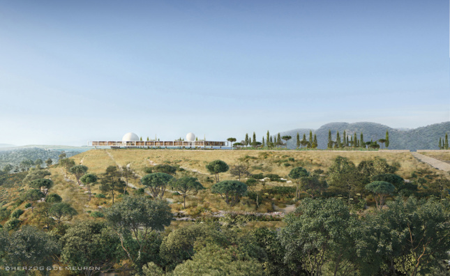Rendering of a flat plateau with a modernist structure on top