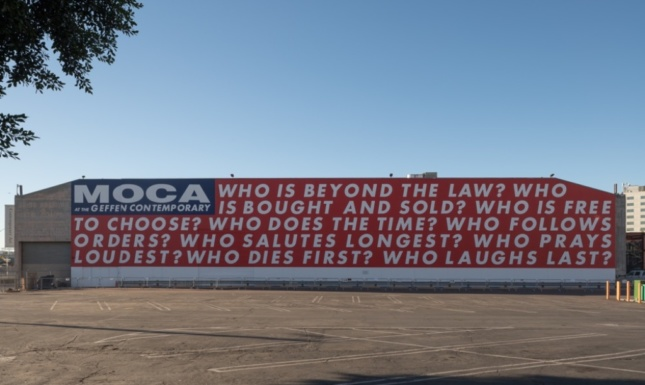 """Building with words on wall that reads """"MOCA the Geffen Contemporary"""", from artist Barbara Kruger"""