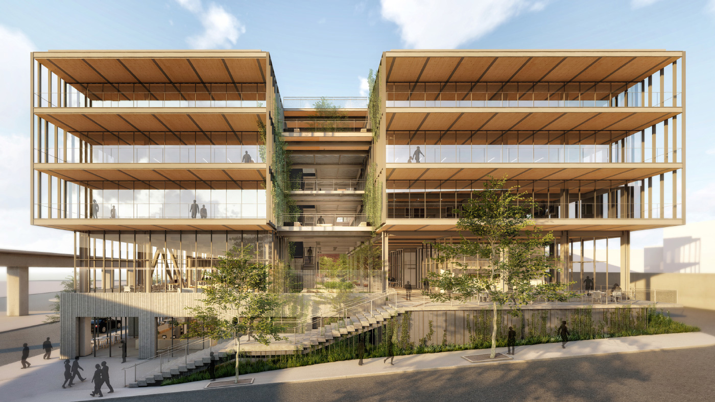 Front-facing rendering of a timber-and-glass office building