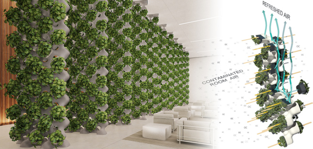 A room with pillars dotted with plants, a diagram positioned at right demonstrating airflow through the plants.