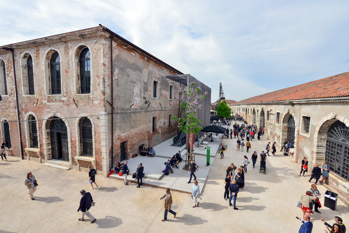 an outdoor photo of arsenale in venice, where the 2020 Venice Architecture Biennale will be held