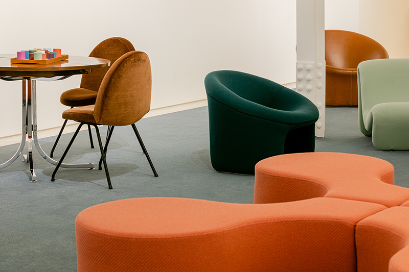 Exhibition view of Color Diaries at Demisch Danant, showing old-style furniture