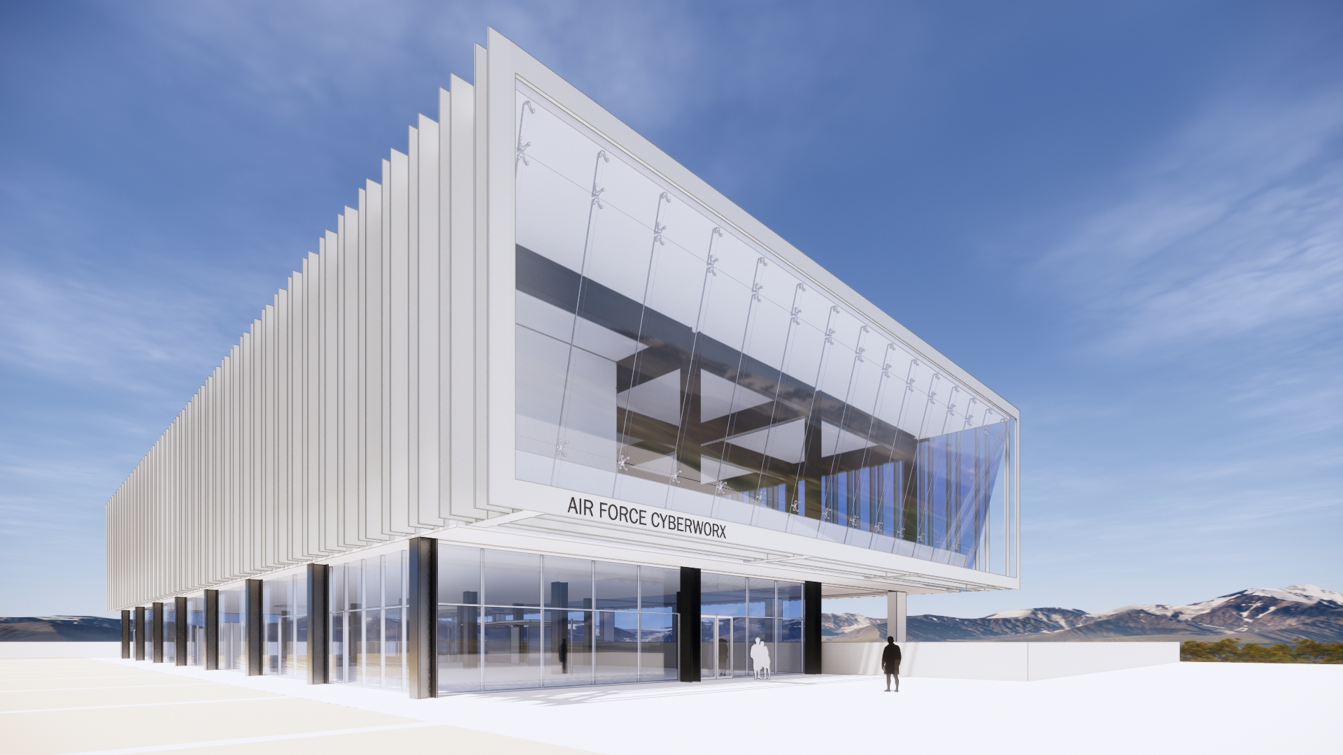 All white building above glass walls, the new Center for Cyber Innovation