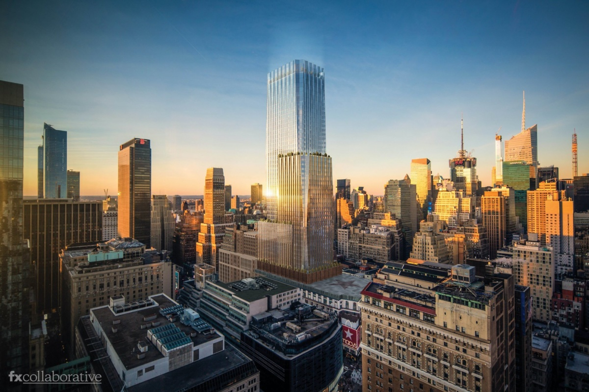 Rendering of NYC skyline at sunset with glass, boxy tower above Macy's department store