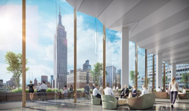 Interior rendering of glass-walled lobby where people sit on coaches and look at views of Empire State Building, from Macy's