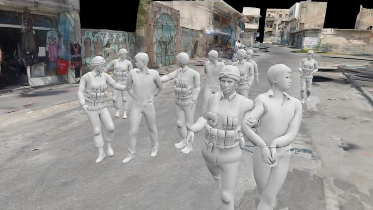 Virtual reality image of policemen escorting people