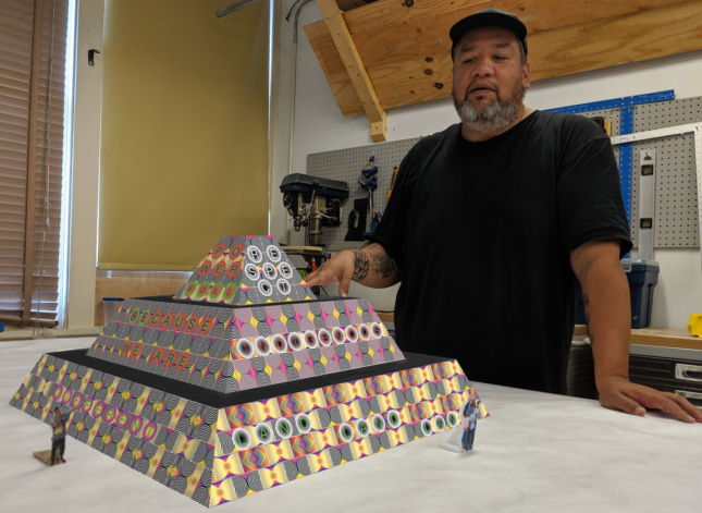 Jeffrey Gibson talks about model of ziggurat monument