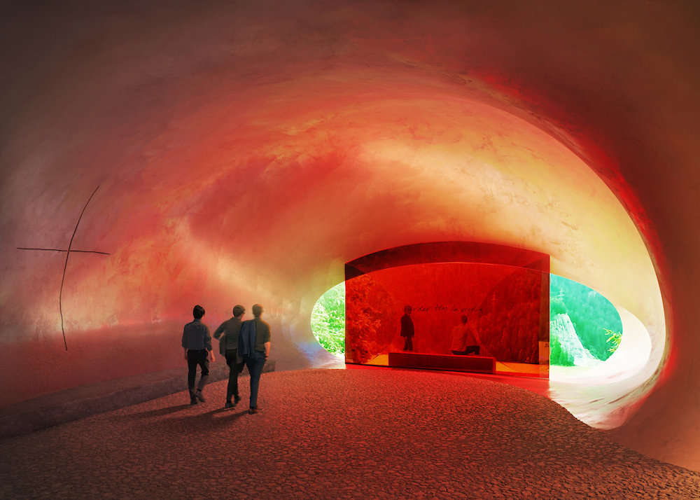 Rendering of a chapel interior bathed in red light