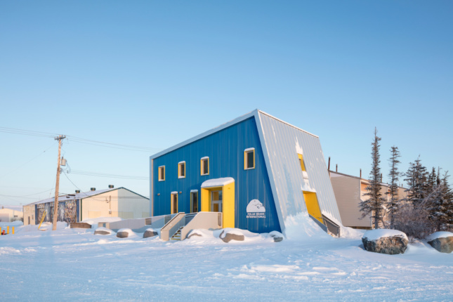 A boxy building in the snow