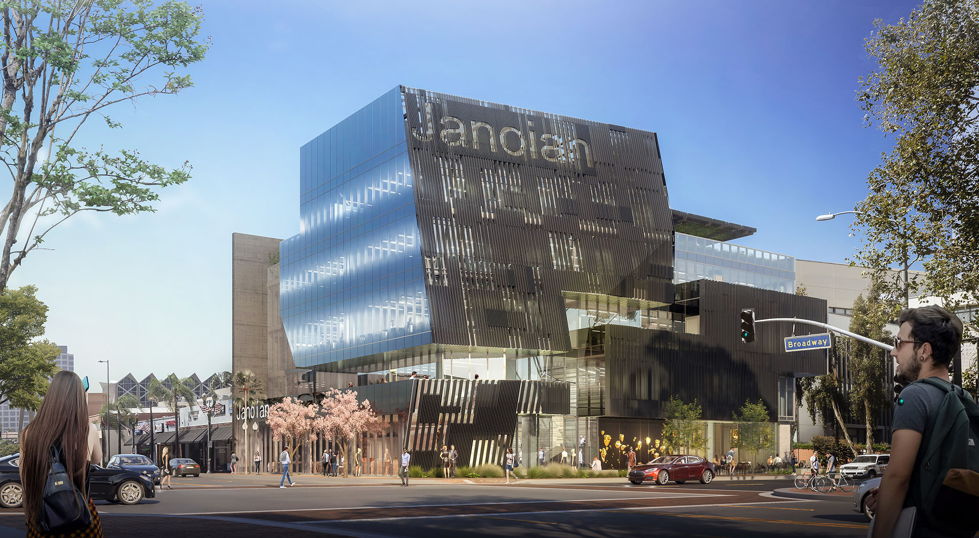 Rendering of a new tower in Glendale with a dynamic, split facade