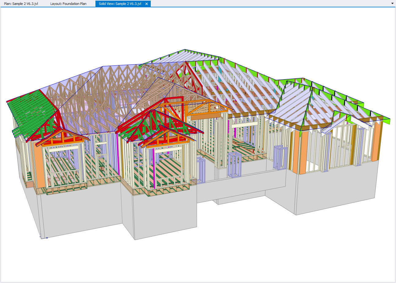 Screenshot of timber construction software showing joists and beams on a house