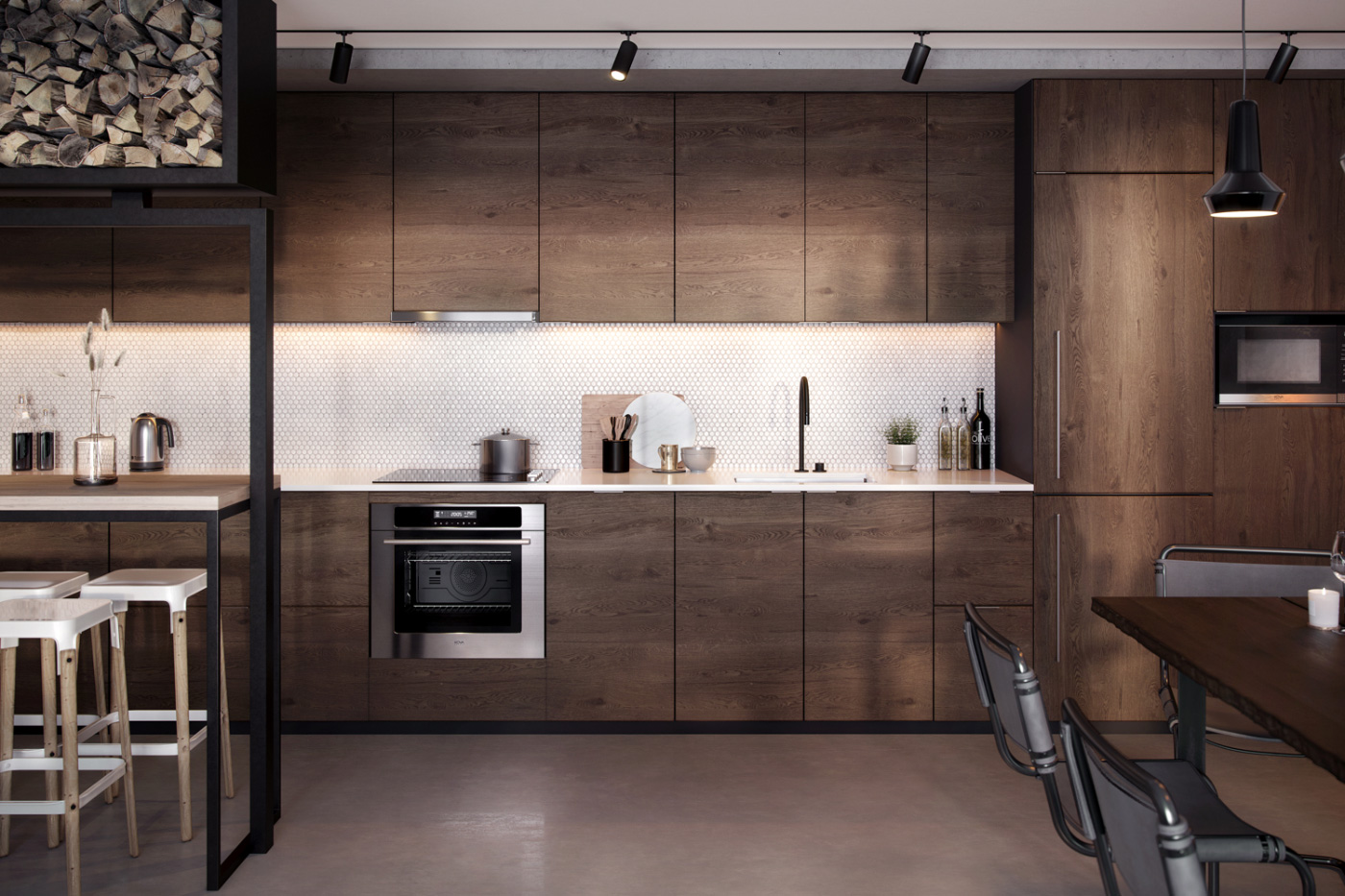 Photo of a kitchen system with wood cabinets from KOVA