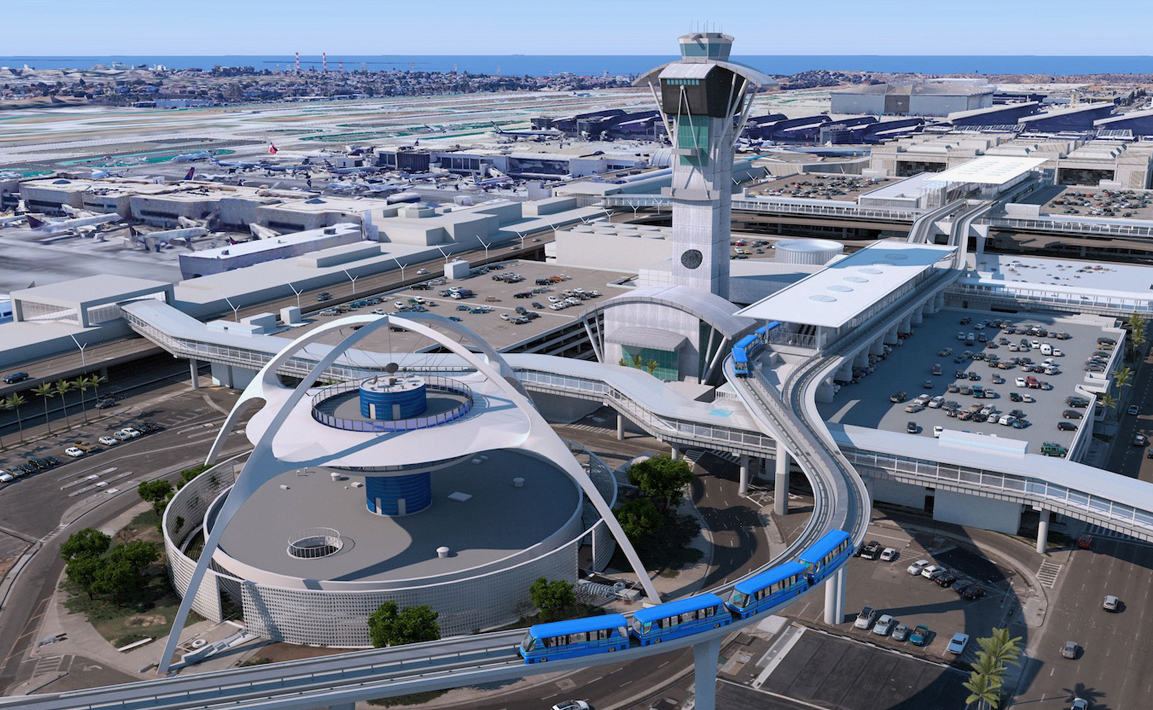 Aerial rendering of the Los Angeles International Airport, presented at TECH+