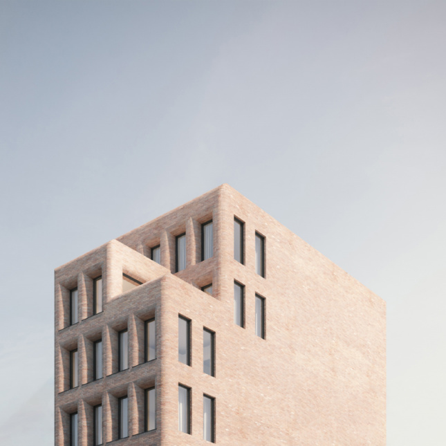Rendering of a brick building with rounded edges