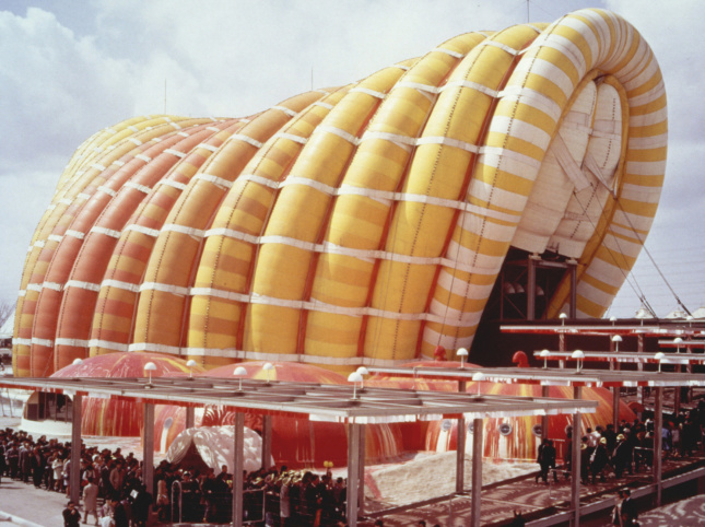 A large yellow and orange inflatable structure built in Japan