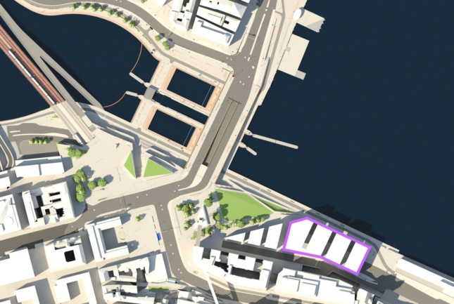 Image illustrating the future location of the Nobel Center, showing a map of a riverfront neighborhood