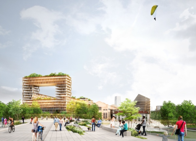Rendering of a timber structure in France shaped like a square