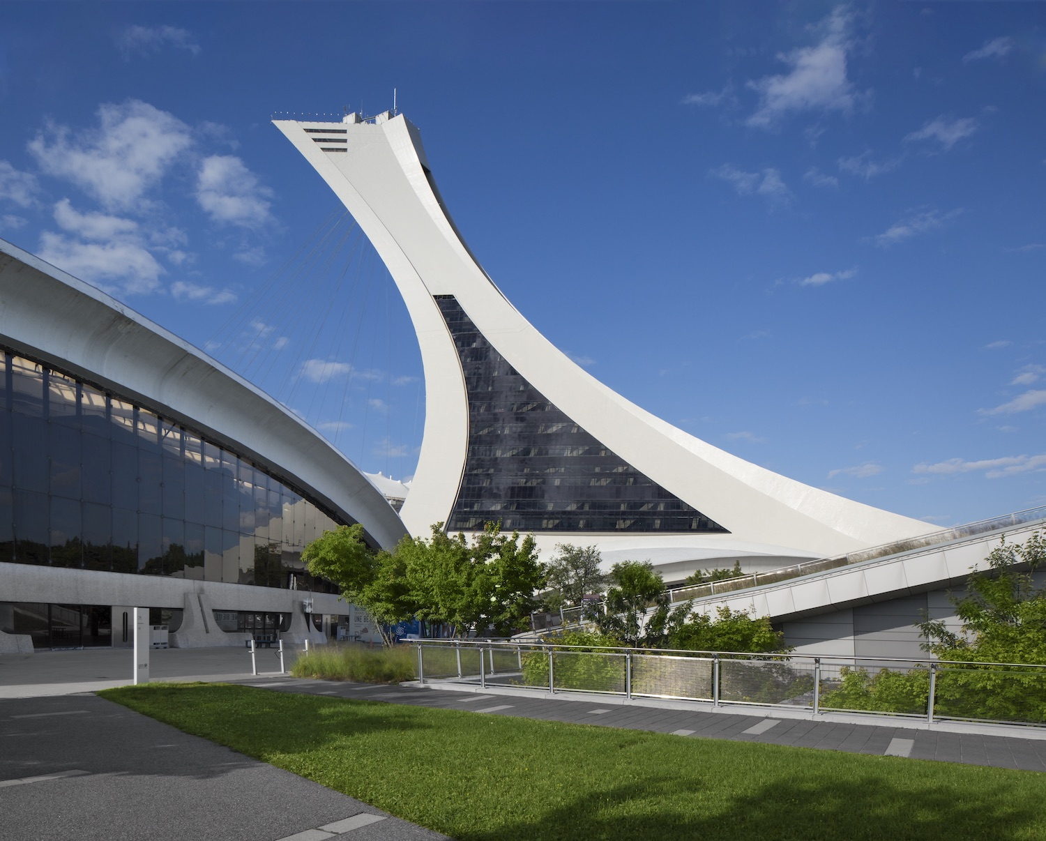 exterior view of the olympic tower in montreal