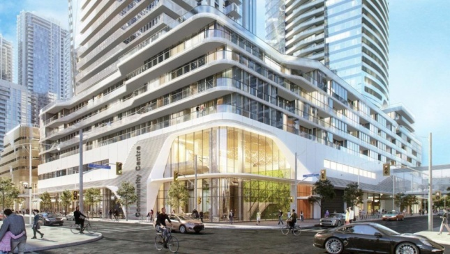 Ground-level rendering of skyscraper podium activated with retail in Toronto