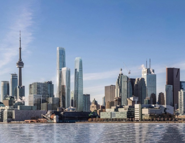 Rendering of three new towers on Toronto skyline next to CN Tower