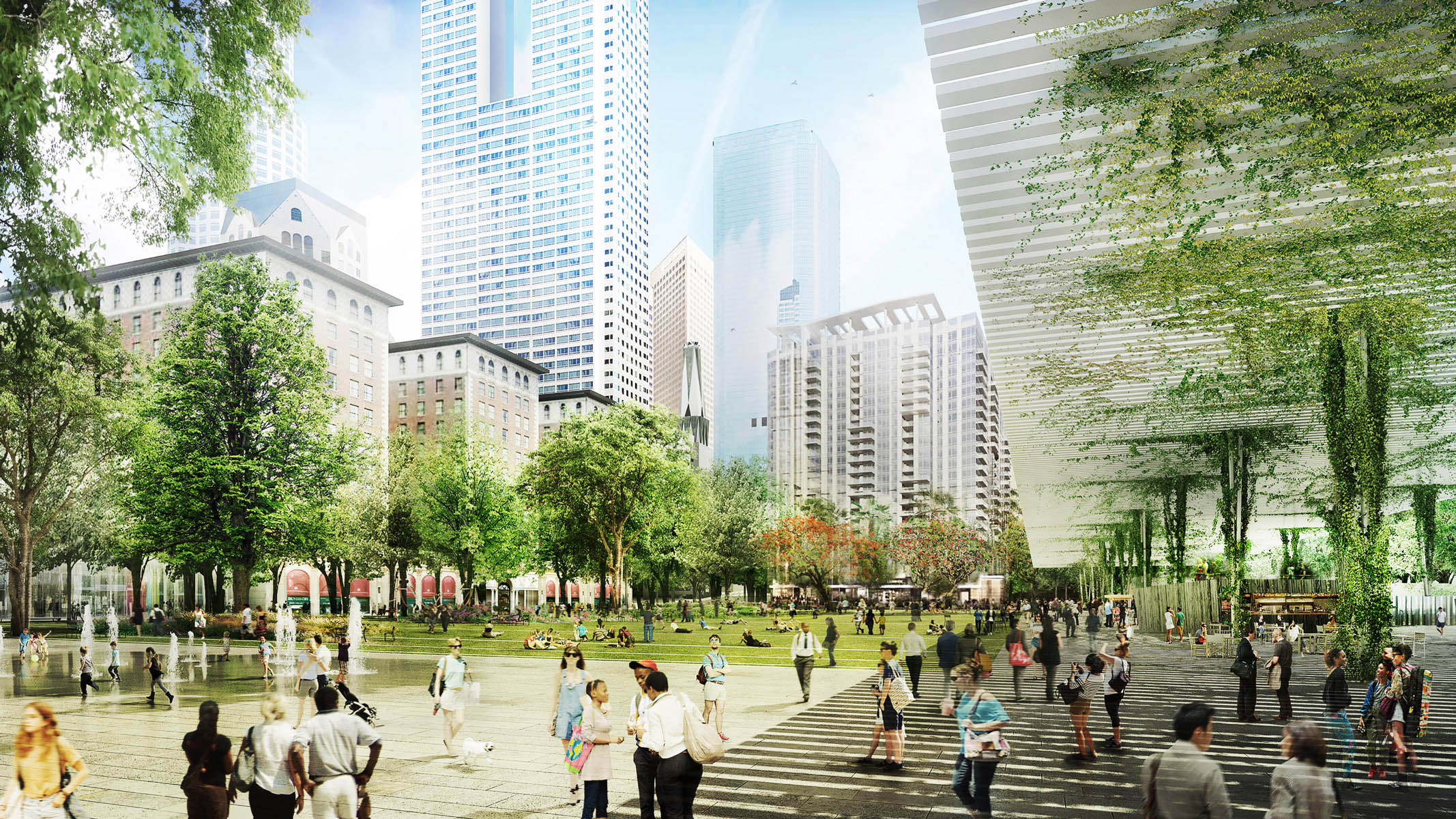 Rendering of the new Pershing Square, with tree-lined walkways