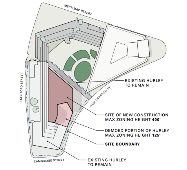 Diagram of government building complex with partially demolished section