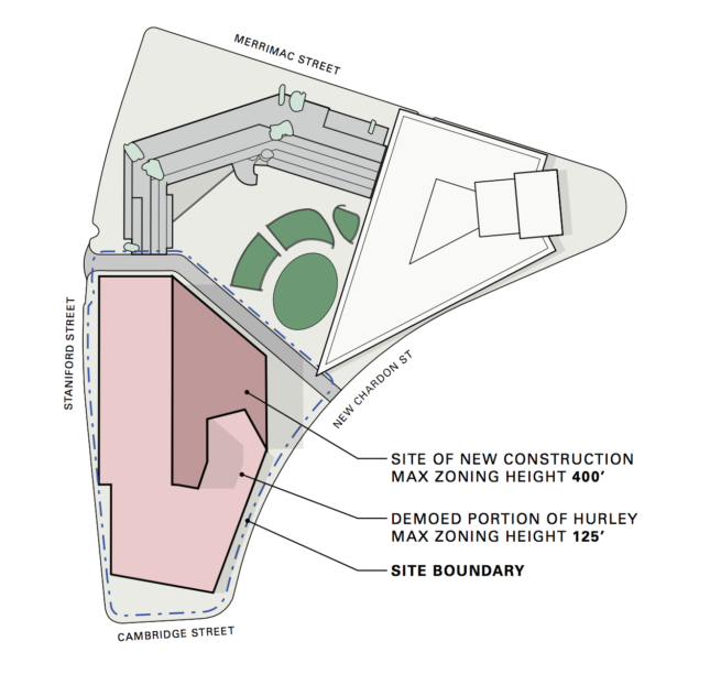 Diagram showing government services site with fully demolished Hurley building footprint